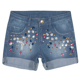 Bermuda Jeans Infantil Com Pedras Hello Kitty Tam 4
