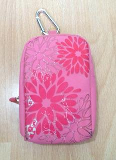 Bolsa Estuche Para Celular O Camara Rosa Flores Original!!