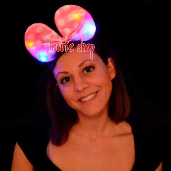 10 Diademas Luminosas Tela Moño Mimi Minnie Luz Led Mini