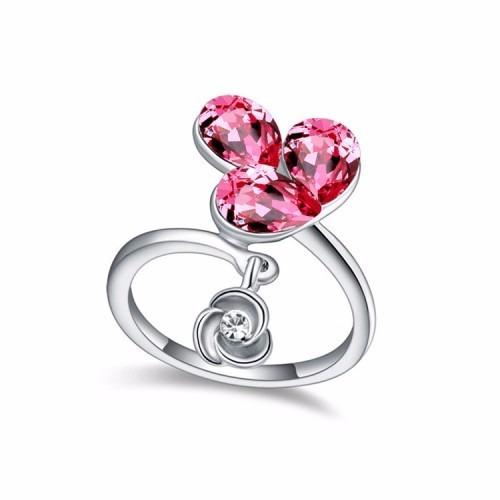 Pink Crystal Drop Fashion Ring