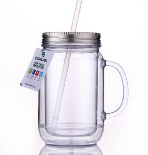 Vaso Acrilico Mod.: Mason Jar Cupture Doble Con Tapa