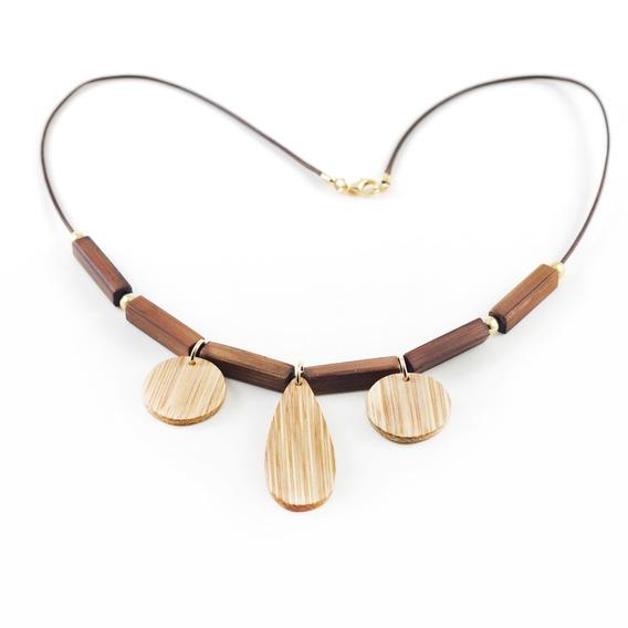 Gota - Colar Artesanal Em Bambu E Ouro - Biojoia