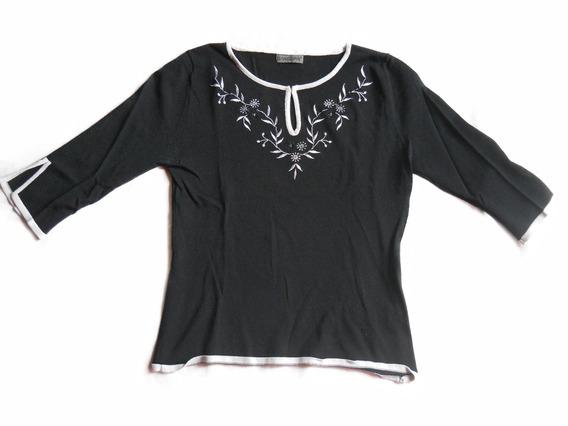 Remera De Hilo Manga 3/4 Camiseta Negra Bordada No Musculosa