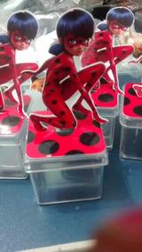 10 Caixinha Acrilico 3d Ladybug E Cat Noir