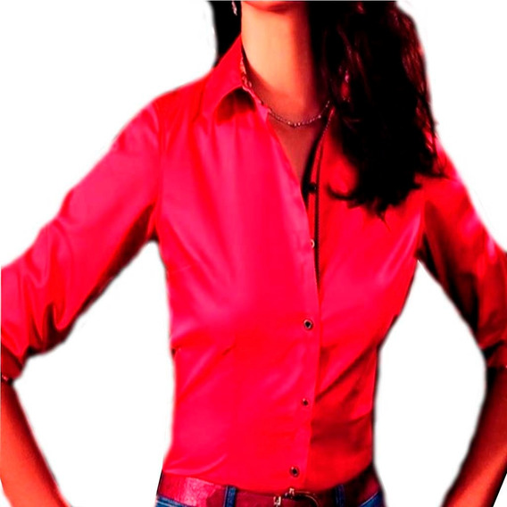 Camisa Social Feminina Blusa Moda Evangelica Manga Longa