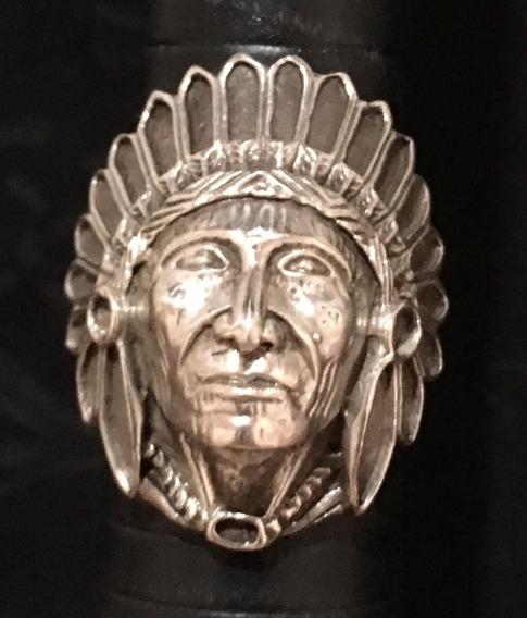 Anel Índio Cacique Prata De Lei Antigo