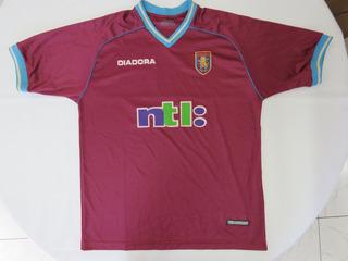 Aston Villa Inglaterra Camisa Original Diadora Ano 2001
