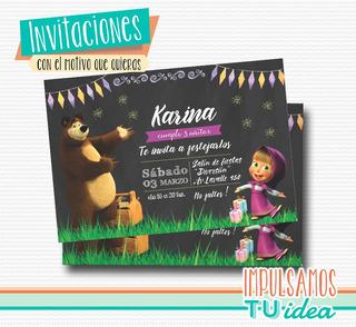 Masha Oso Tarjetas De Invitacion En Mercado Libre Argentina