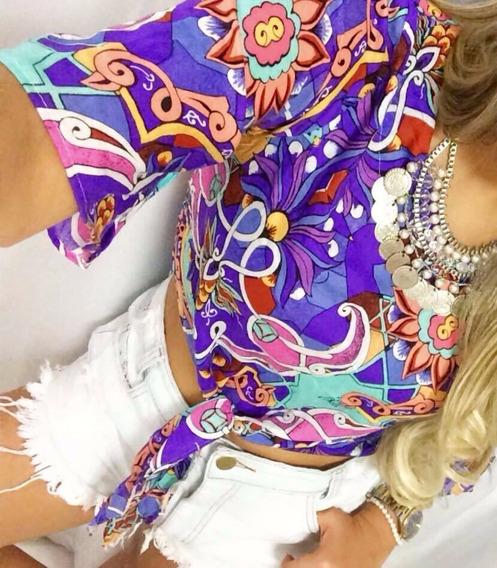 Blusa Estampada De Amarrar Tam Unico Veste P E M