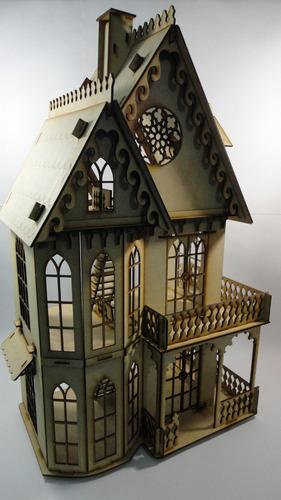 Casa Gotica Muñecas, Rompecabezas 3d, Hecha En Madera  Mdf