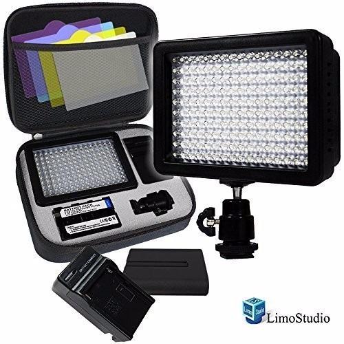 Kit Lampara 160 Leds Video Bateria Cargador Filtros Estuche