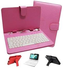 Capa Case De Couro Rosa Com Teclado Usb Tablet 7 Polegadas