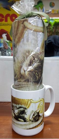 Mug Porcelana Gatos 3 Y Mouse Pad
