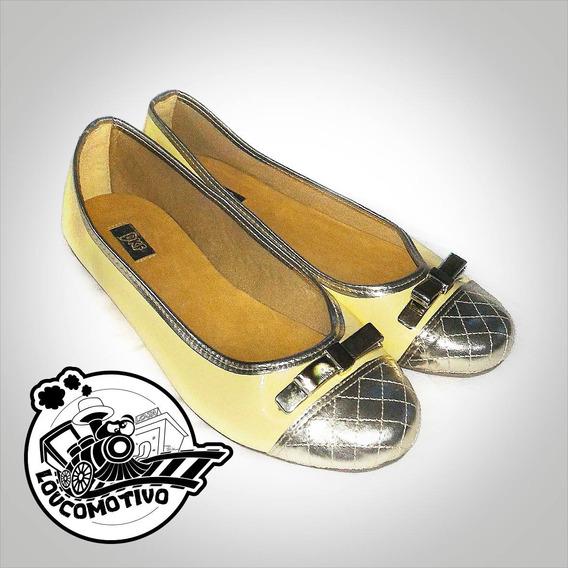 Sapatilha 36 Dkf Amarelinho/ouro (modelo Exclusivo)