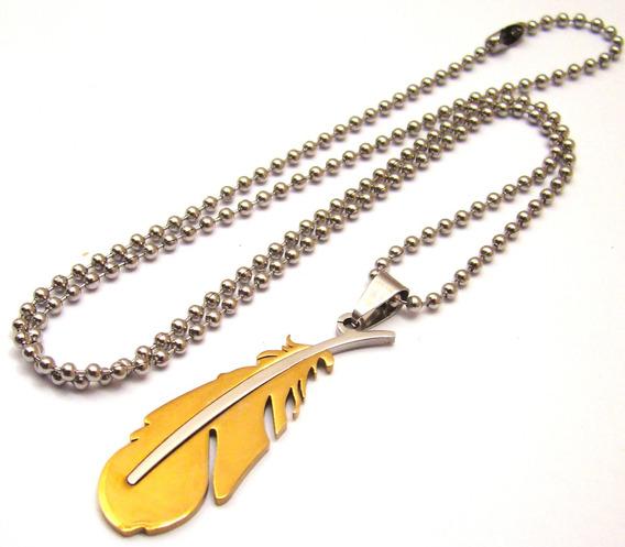 Colar Pena Aço 316l Corrente + Pingente Dourado Unissex