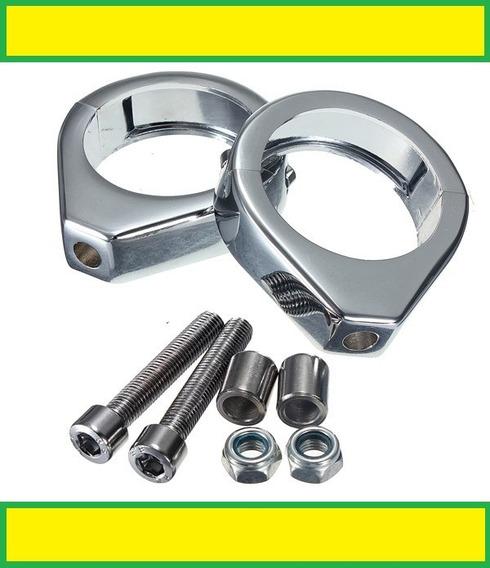 Kit Abraçadeiras 49mm Show Chrome P/ Pisca Ou Farol Auxiliar