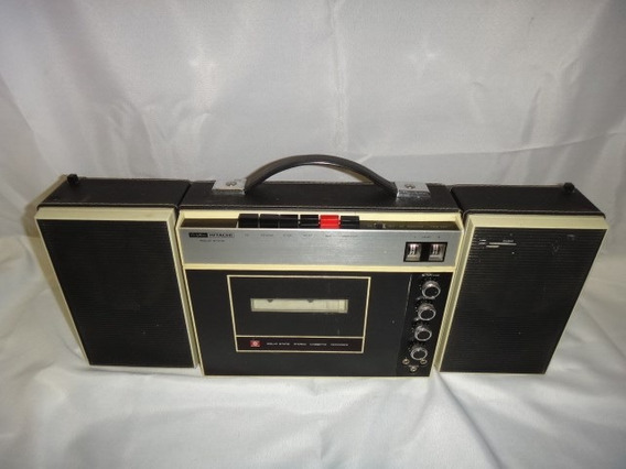 Toca Fita Cassete Case C/ 2 Caixas De Som Hitachi Antigo