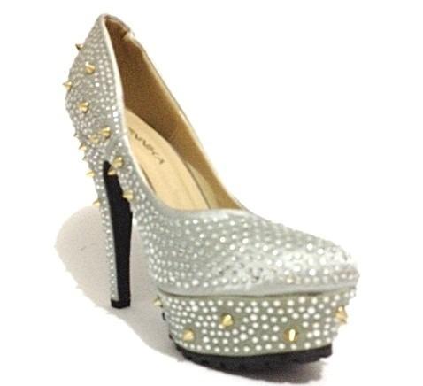 Sapato Feminino Festa Salto Alto Importado Luxo Brilho-c007