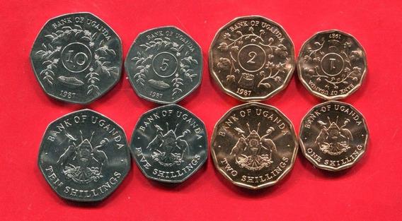 Uganda Set De 4 Monedas Año 1987 Sin Circular