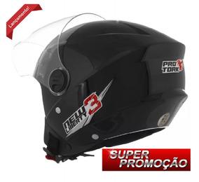 Kit 04 Capacetes Aberto De Moto Pro Tork New Liberty 3 Preto