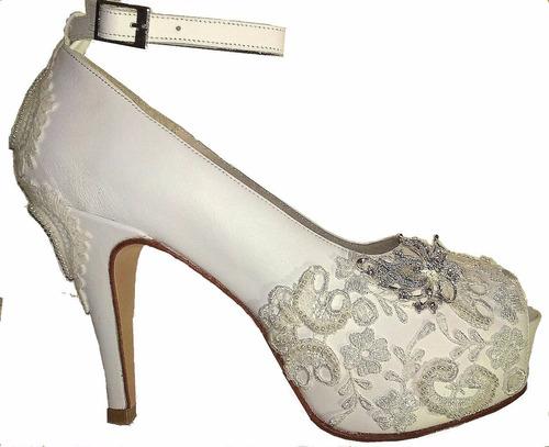 c1808074 Zapatos Blancos Con Moño De Casamiento Novia Ó 15 En T N°37 ...