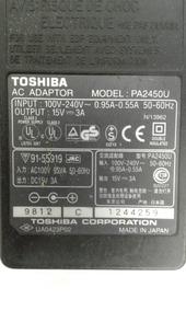 Carregador Fonte Original Da Toshiba Para Notebook Mod2450a
