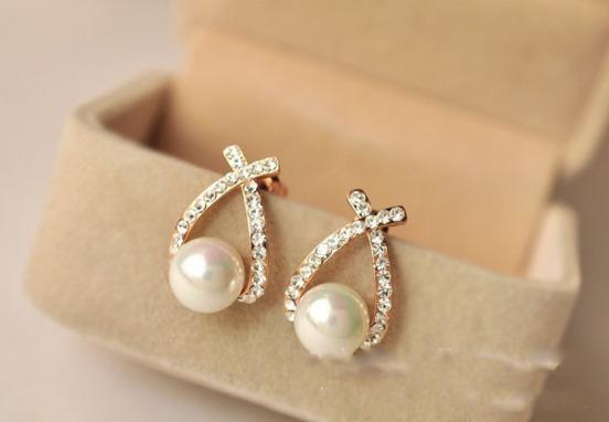Brincos Diamantes Cristal E Perola Brincos Para Mulheres
