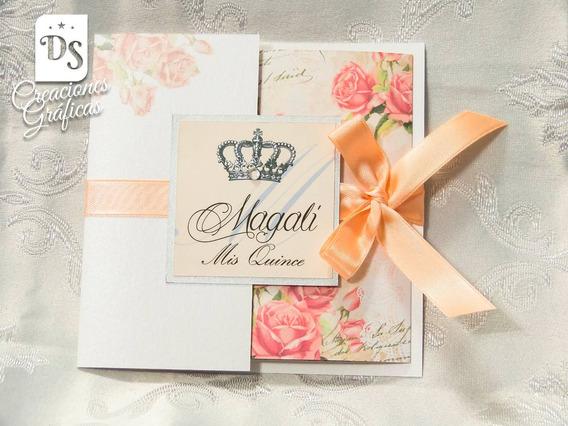 Tarjetas Invitaciones 15 Años Rosas Retro