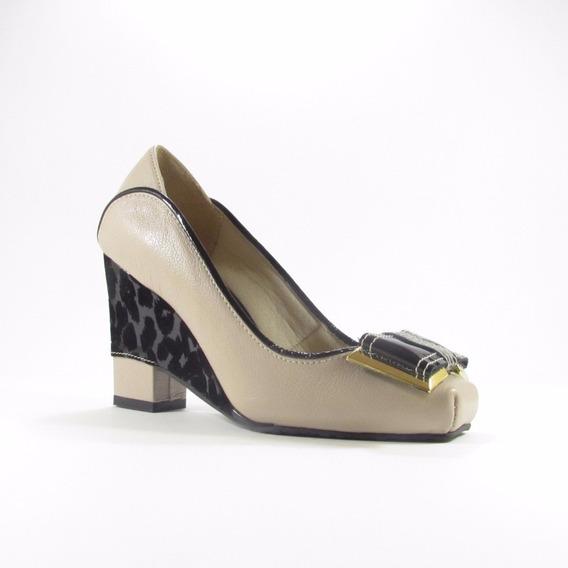 Sandália Plataforma Bege/preto (couro)