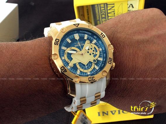 Invicta Pro Diver 23423 Branco Banhado Ouro 18k - Original