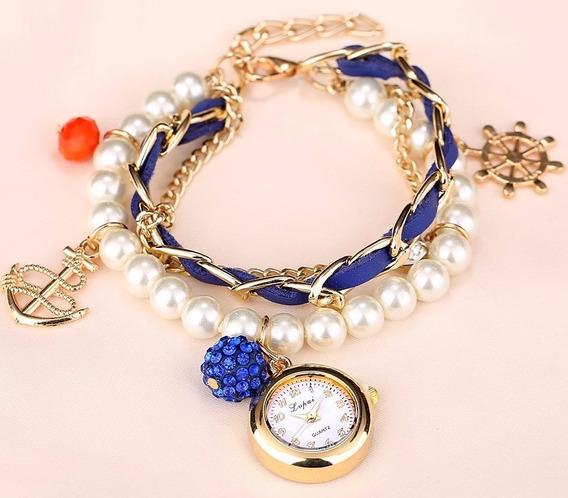 Pulseira Bracelete Relógio Com Pérolas Detalhes Mar Marinha