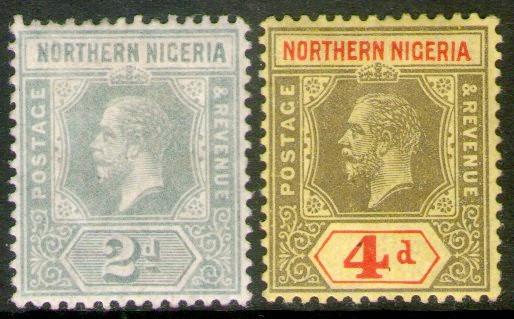 Nigeria Del Norte 2 Sellos Nuevos Rey George 5° Año 1912