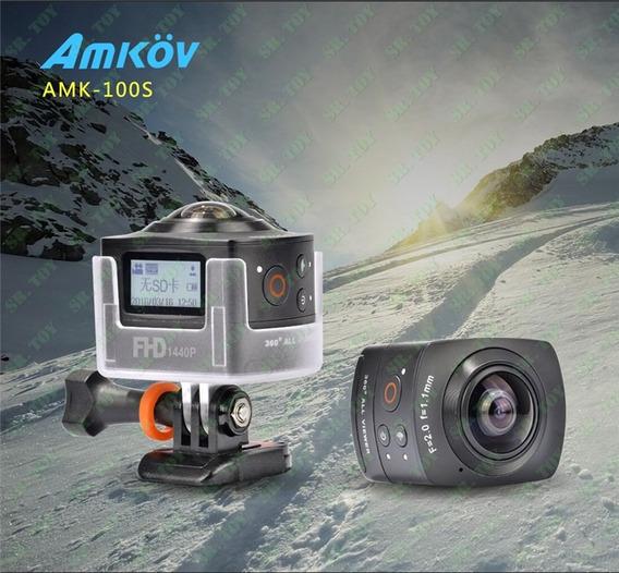 Camera Amkov Amk100s 360° 8mp 1440p/30fps Wifi + Case
