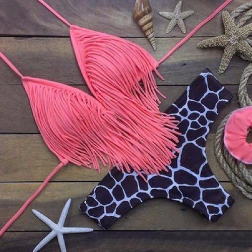 Vestido De Baño Bikini Flecos Fashion Pink Sexy Bandage //