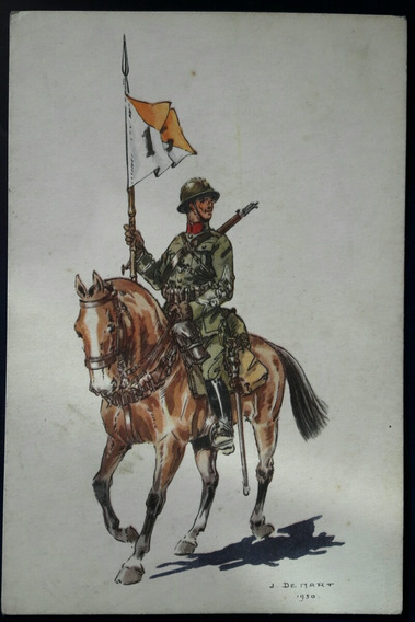 Antigua Postal Soldado Uniforme Militar De Caballeria