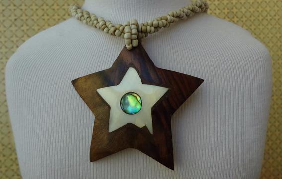 Colar Pingente Madeira Estrela E Madrepérola Natural Style