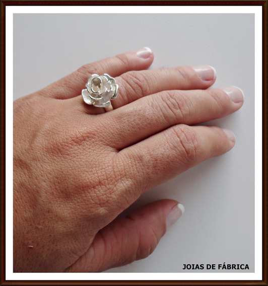 Anel Rosa,flor Em Prata 950 Frete Grátis