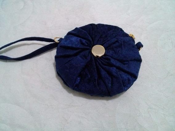 Bolsa Redonda De Mão Azul Marinho.