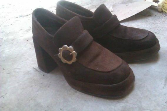 Zapatos De Cuero Gamuzado