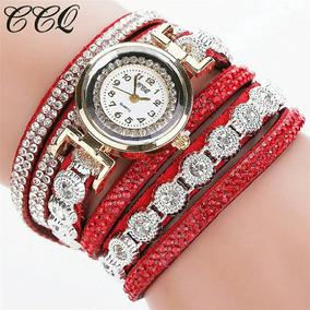 Relógio Nova Moda Pulseira De Strass Luxo Mulheres