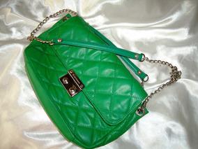 Linda,elegante Bolsa Vintage Carmim Couro Verde,anos 2000