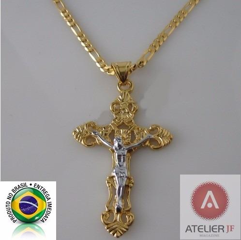 Corrente Cordão Figaro Crucifixo Jesus Ouro Amarelo Branco