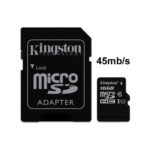 Memoria Micro-sd Kingston 16gb Clase 10 45 Mb/s Full Hd