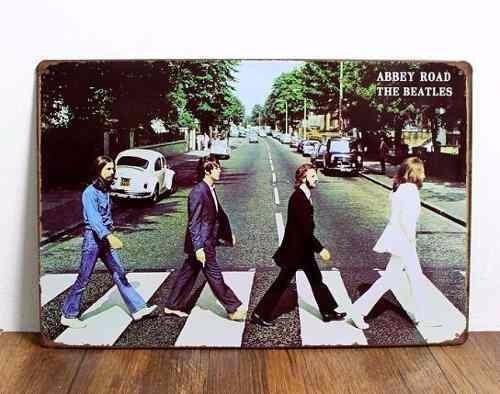 Cuadro The Beatles Abbey Road Cartel Chapa Retro Vintage