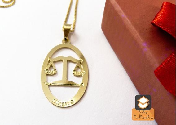 Colar Direito - Folheado Em Ouro (garantia 1 Ano)