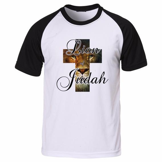 Camisa Camiseta Raglan Evangélica Leão Da Tribo De Judá