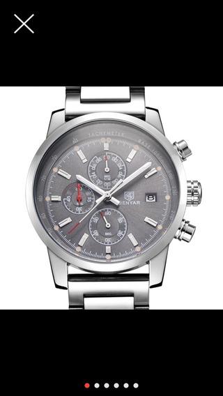 Benyar Reloj , Relógio Francês Homem Inox , Cronógrafo .
