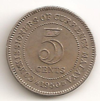Malaya Britanica, 5 Cents, 1950. Xf / Xf+