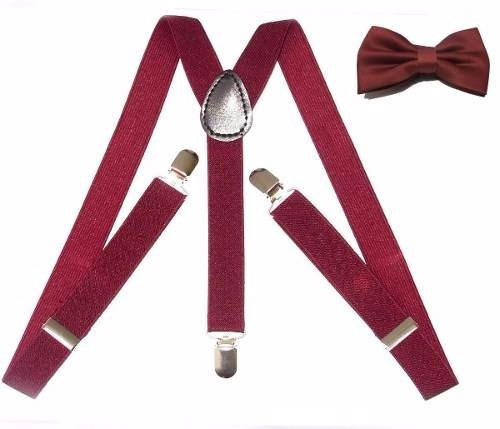 Kit Suspensório+gravata Borboleta Cor Marsala De 0 A 5 Anos