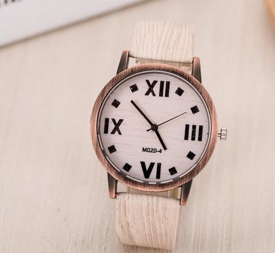 Relógio Cor Madeira Bege Clássico Bonito Barato E Moderno